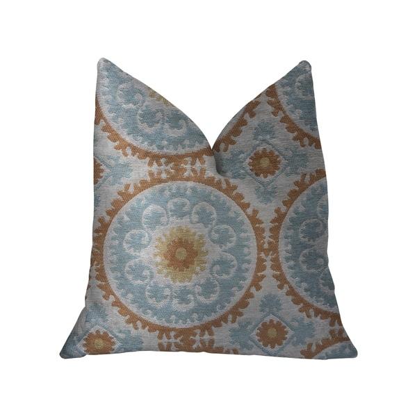 Plutus Sunset Cottage Orange, Blue and Ivory Luxury Throw Pillow