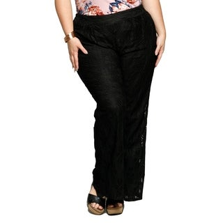Xehar Womens Plus Size Casual Embroidered Lace Wide Leg Pants