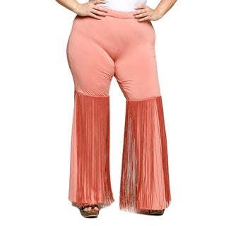 Xehar Womens Plus Size Stylish Chic Flare Wide Leg Fringe Pants