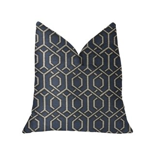 Plutus Midnight Padlock Blue, Black and Beige Luxury Throw Pillow