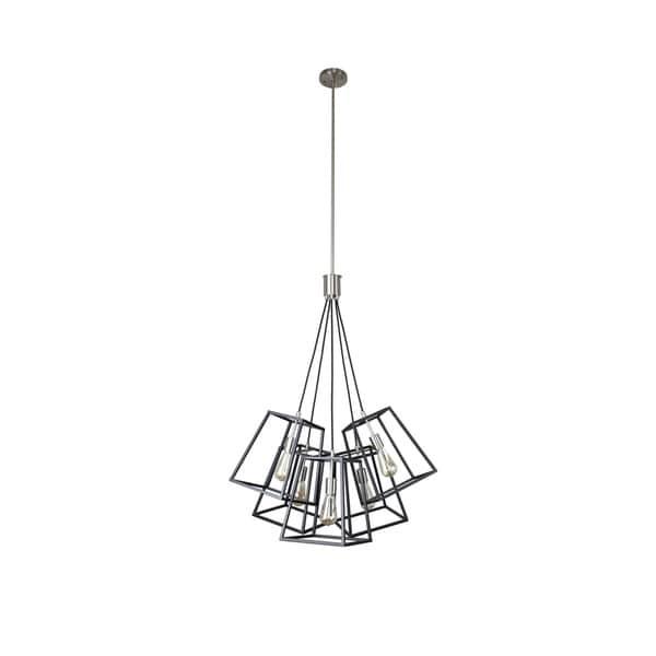 Sarah Collection 5-Light Black and Satin Nickel Finish Pendant