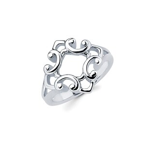 Sterling Silver Open Diamond-Shaped Scroll Ring