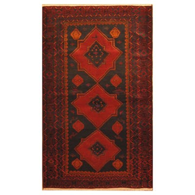 Handmade One-of-a-Kind Wool War Rug (Afghanistan) - 4' x 6'7