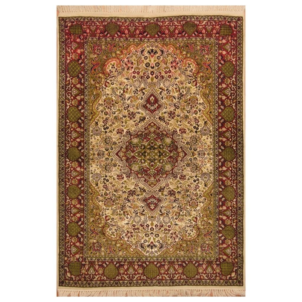Handmade One Of A Kind Kashmiri Wool And Silk Rug India 4 2 X 6 2 Overstock 20979558