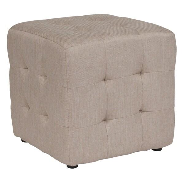 Shop Ogden Beige Fabric Tufted Upholstered Cube Ottoman