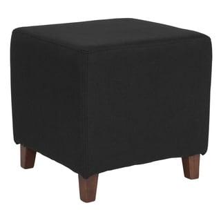 Salem Black Fabric Upholstered Cube Ottoman