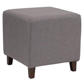 Salem Light Grey Fabric Upholstered Cube Ottoman