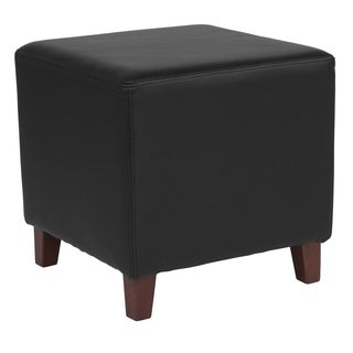 Salem Black Leather Upholstered Cube Ottoman