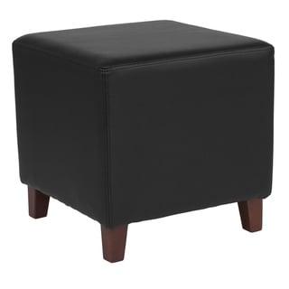Salem Black Leather Upholstered Cube Ottoman