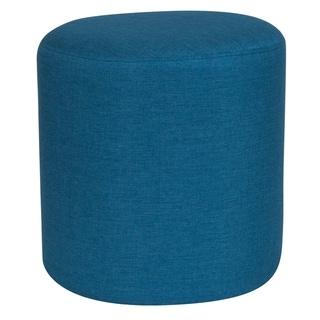 Toledo Blue Fabric Upholstered Round Ottoman