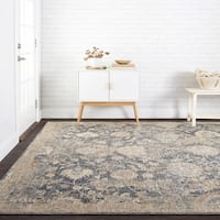 Traditional Blue/ Beige Floral Mosaic Rug - 9'6 x 12'6