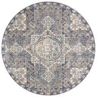 """Traditional Blue Moroccan Mosaic Round Rug - 9'6"""" x 9'6"""""""