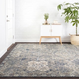 Traditional Blue Moroccan Mosaic Rug - 12' x 15'