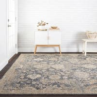 Traditional Blue/ Beige Floral Mosaic Rug - 12' x 15'
