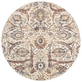 Traditional Ivory/ Rust Mosaic Floral Spray Round Rug - 9'6 x 9'6