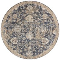 Traditional Blue/ Beige Floral Mosaic Round Rug - 9'6 x 9'6