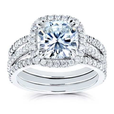 Annello by Kobelli 14k White Gold 2 2/5ct TGW Cushion Moissanite and Diamond Halo Bridal Rings Set (GH/VS, GH/I)