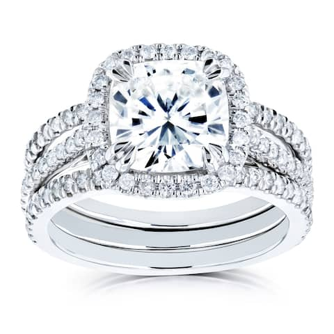 Annello by Kobelli 14k White Gold 2 2/5ct TGW Cushion Forever One Moissanite and Diamond Halo Bridal Rings Set (DEF/VS, GH/I)