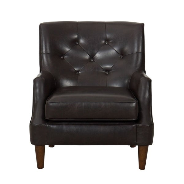 Shop Homepop Large Tufted Faux Leather Accent Chair