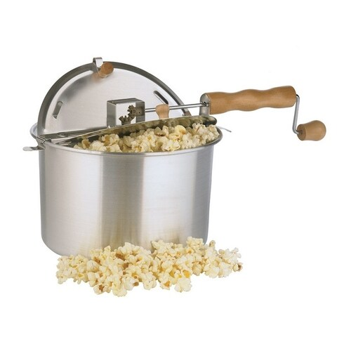 Whirley Pop Aluminum Stove Top Popcorn Popper 6 qt. Silver