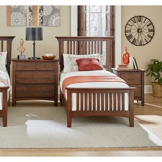 Modern Mission Vintage Oak Finish Bed Set