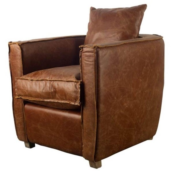 Shop Mercana Hyde I Brown Leather Accent Chair Free