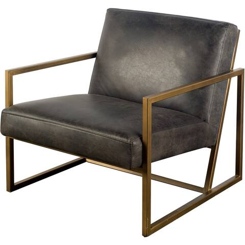 """Mercana Armelle I Black Leather Accent Chair - 28.25"""" W x 32.75"""" D x 30.0"""" H"""