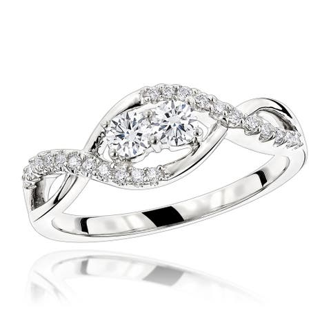 Ladies Unique 14kt Gold 2 Stone Diamond Band Infinity Ring 0.4ctw G-H Color by Luxurman