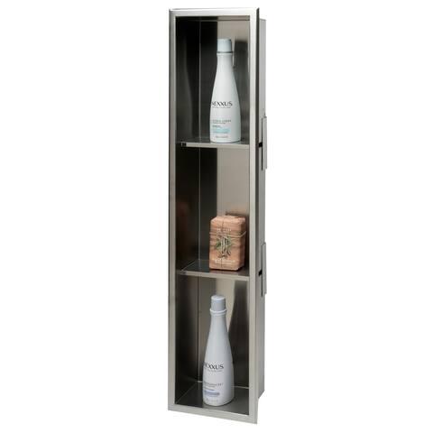 ALFI brand 8 x 36 Brushed Stainless Steel Vertical Triple Shelf Bath Shower Niche - Grey