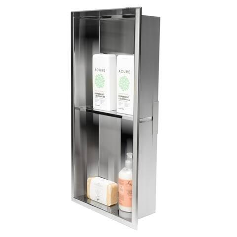 ALFI brand 12 x 24 Polished Stainless Steel Vertical Double Shelf Bath Shower Niche - Grey