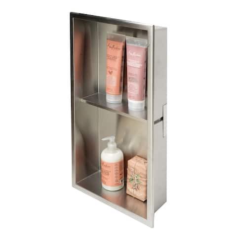 ALFI brand 12 x 24 Brushed Stainless Steel Vertical Double Shelf Bath Shower Niche - Grey