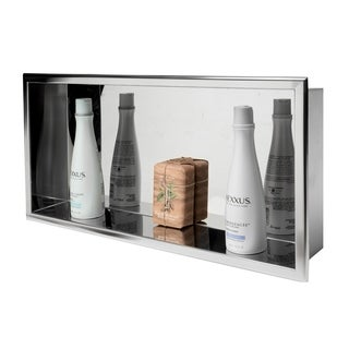 "ALFI brand 24"" x 12"" Polished Stainless Steel Horizontal Single Shelf Bath Shower Niche"