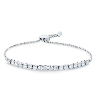 "Annello by Kobelli 14k White Gold 2 7/8ct TGW Moissanite Bolo Strand Bracelet, Adjustable Length, 10.5"" Extended"