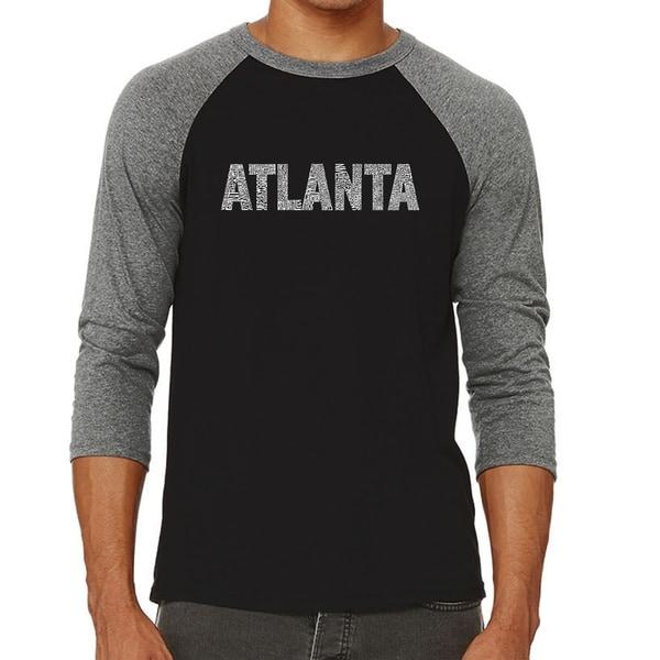 Los Angeles Pop Art Mens Raglan Baseball Word Art T-shirt - ATLANTA NEIGHBORHOODS