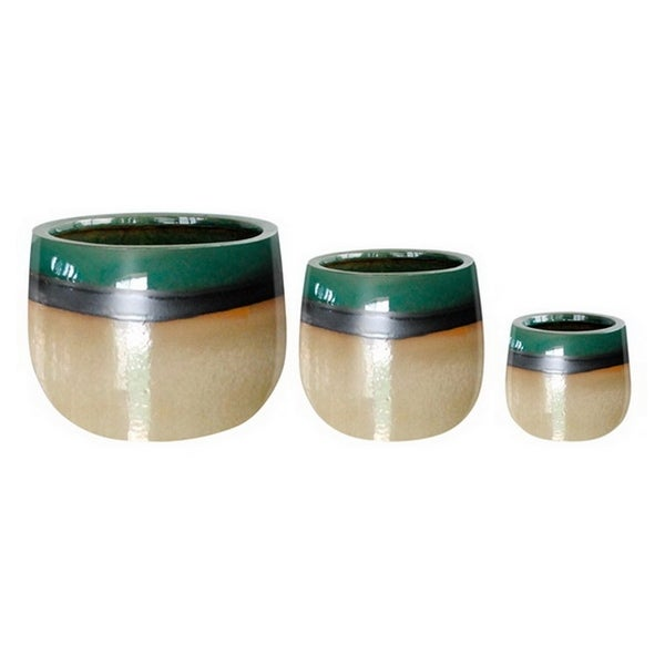 Three Hands Set Of Three Ceramic Planters - l12x12x9 * m 9x9x7 * s 6.5x6.5x5