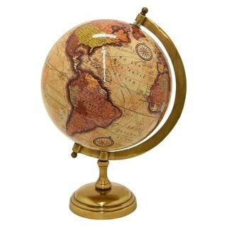 Three Hands Globe 8 Inch-  Antique Brass Base