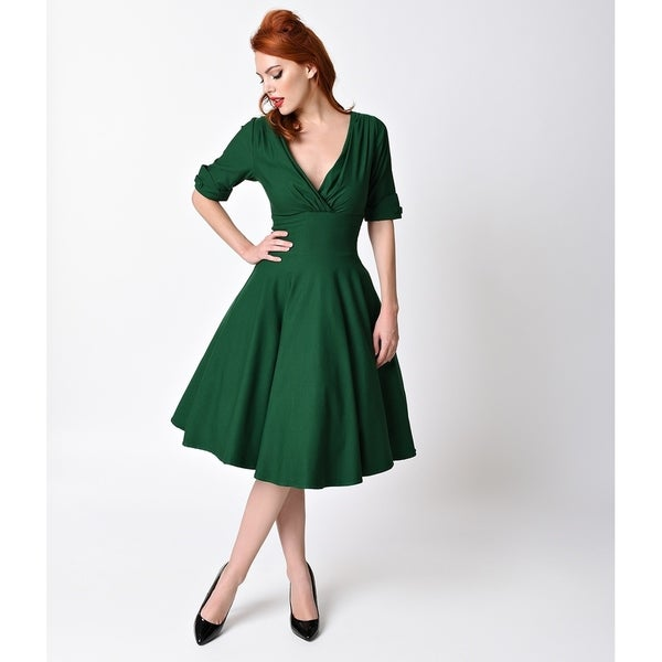 59abbf9dc2d5 Shop Unique Vintage Emerald Green Delores Swing Dress - Free ...