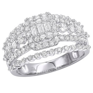 Affordable 14kt Gold Baguette Round Diamond Engagement Ring 1.1ctw by Luxurman (3 options available)
