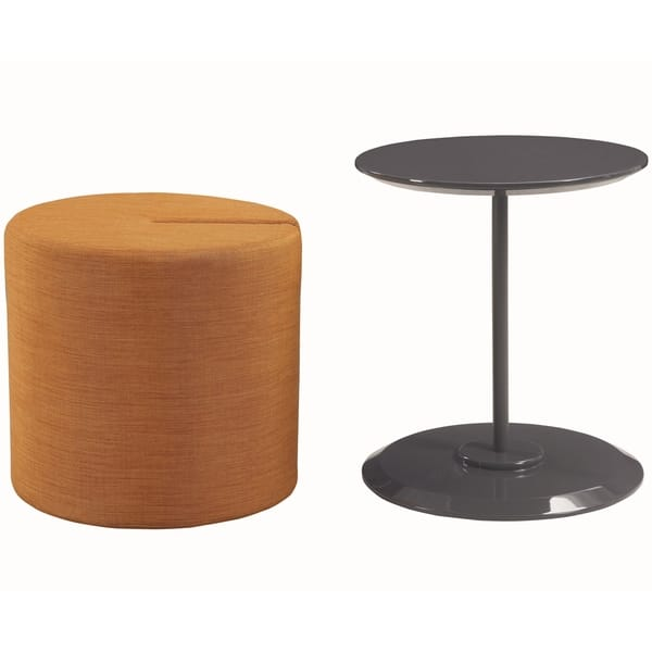 Modern Cylinder Design Accent Table With Orange Ottoman Overstock 20981117