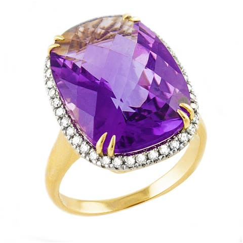 14k Yellow Gold 1/4ct TDW Diamonds and Purple Amethyst Ring