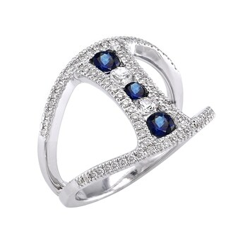 14k White Gold 3/4ct T.W. Diamonds and Sapphires Ring - Blue