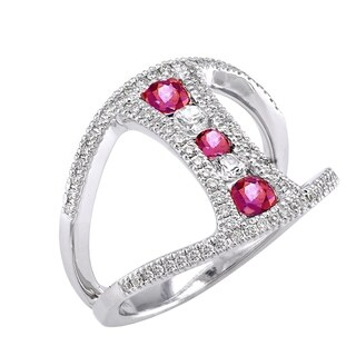 14k White Gold 3/4ct T.W. Diamonds and Sapphires Ring - Pink