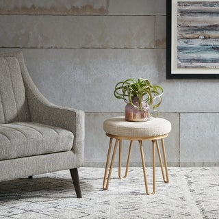 INK IVY Beverly Tan/ Gold Round Stool