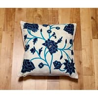 Handmade embroidered decorative throw pillow