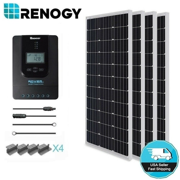 Renogy 400 Watt 12 Volt Monocrystalline Solar Starter Kit with 40A Rover MPPT Charge Controller. Opens flyout.