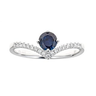18K White Gold Blue Sapphire And Diamond Ring by Anika and August