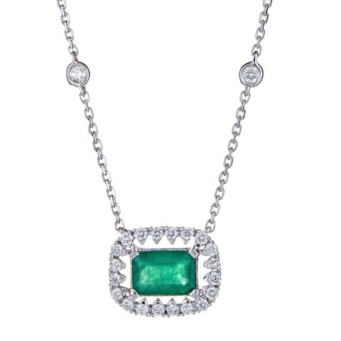 18K White Gold Emerald and Diamond Necklace by Anika And August