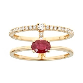 18K Yellow Gold Ruby And Diamond Ring by Anika and August - White