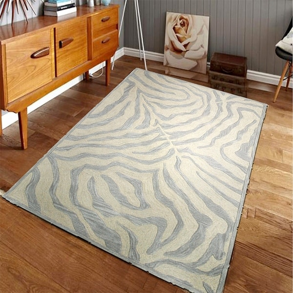 Damask Taupe Rug: Shop LR Home Hand Tufted Fashion Modern Zebra Taupe
