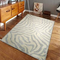 LR Home Hand Tufted Fashion Modern Zebra Taupe/ Silver Wool Rug - 9' x 12'9""